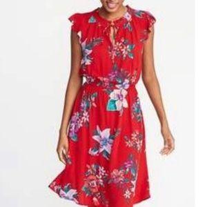 Old Navy Red Tropical Dress Women's Plus Size XXL